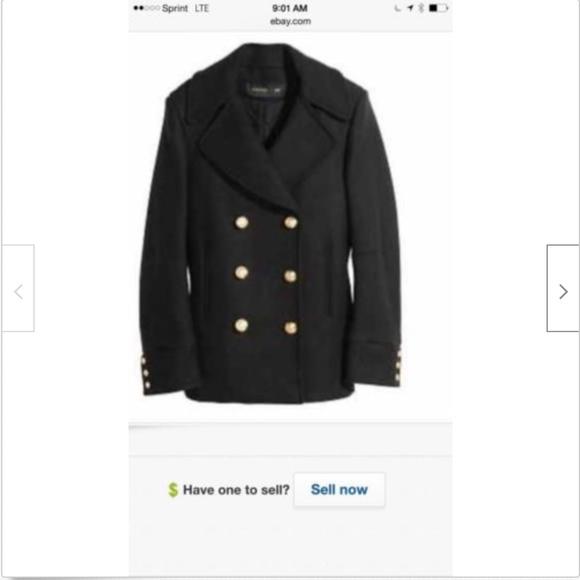 Balmain Jackets & Blazers - NWT Balmain x H&M Black Wool Peacoat SZ 12